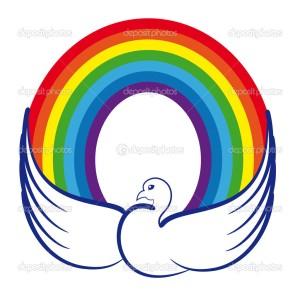 Dove with a rainbow